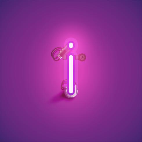 Rosa realistischer Neoncharakter mit Drähten und Konsole von einem fontset, Vektorillustration vektor