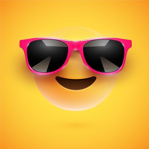 Hoch-ausführlicher smiley 3D mit Sonnenbrille auf einem bunten Hintergrund, Vektorillustration