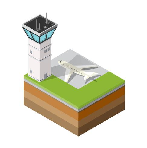 Airport runway control tower vector