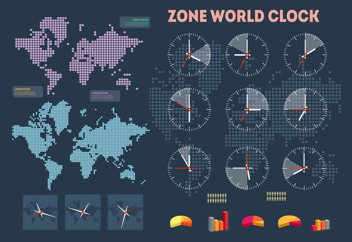 World time infographics vector