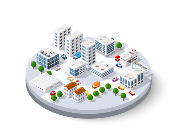 ville isométrique avec des gratte-ciels