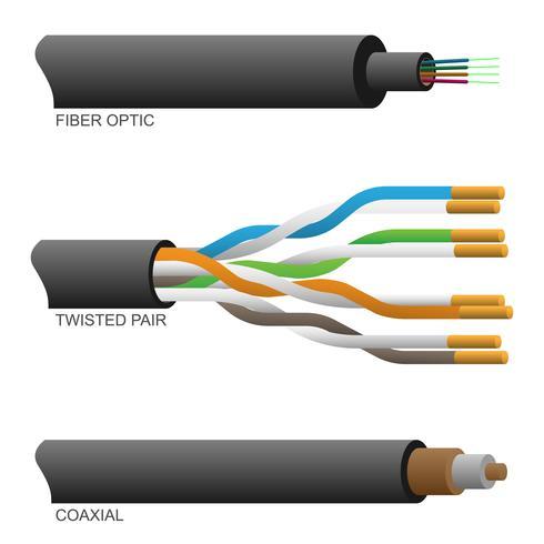 Illustrazione vettoriale di cavi di rete a coppie ottici coassiali e a fibra ottica