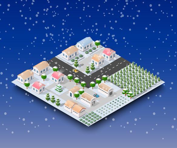 Paysage d'hiver de la ville vecteur