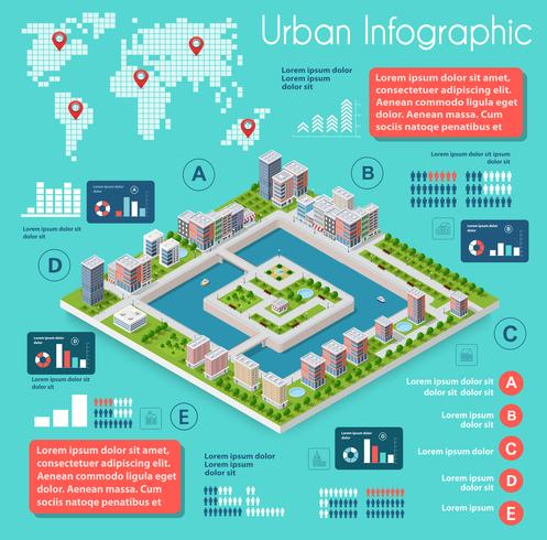 Infographics van stedelijke infrastructuur