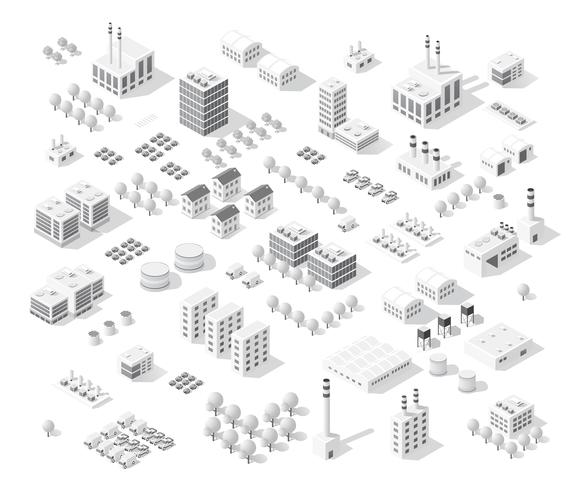 Cidade de conjunto isométrica com arranha-céus