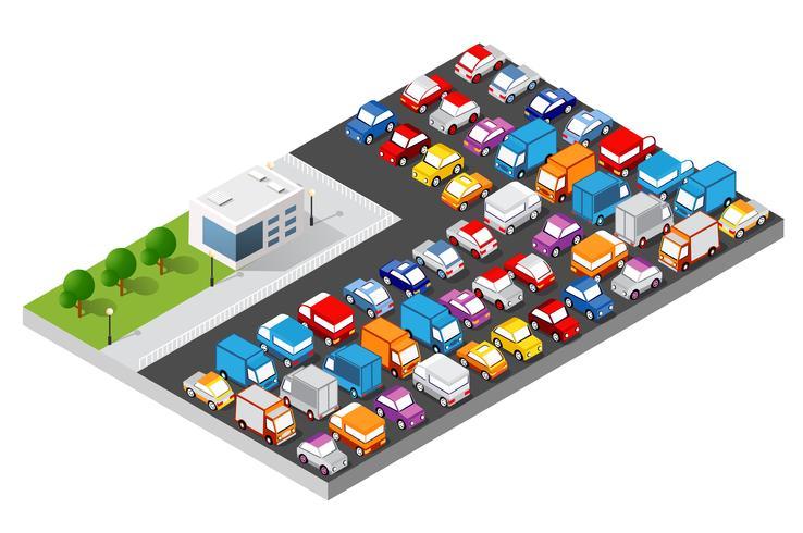 Conjunto isométrico de coches.