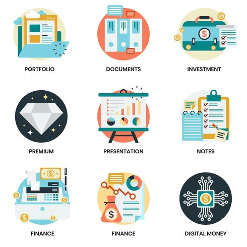 Business icons set for business, marketing vector