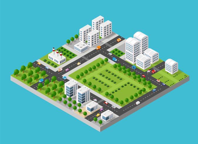 Ensemble isométrique de ville vecteur