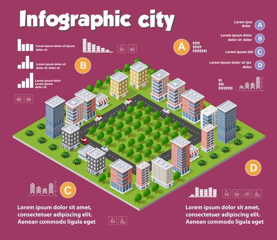 Infografica isometrica città