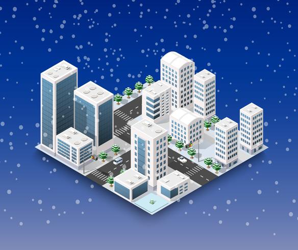 Stad winterlandschap