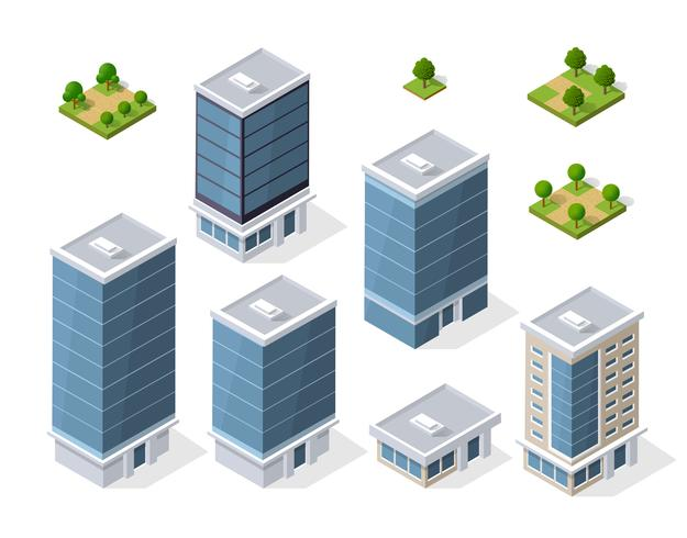 Conjunto de edifícios isométricos modernos
