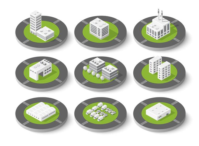 Isometric set city urban