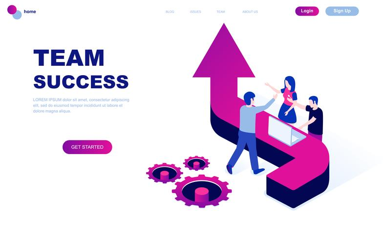 Modern flat design isometric concept of Team Success vector