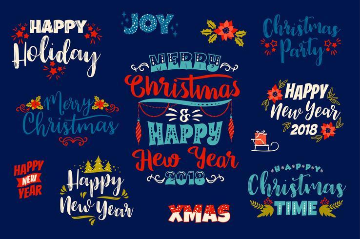 Conjunto de diseños de letras de Navidad y feliz año nuevo. vector