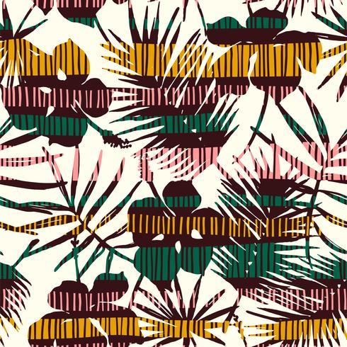 Modelo inconsútil abstracto con las hojas tropicales. Plantilla de vector