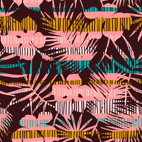 Abstract seamless pattern with tropical leaves. Hand draw texture.