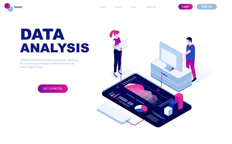 Modern flat design isometric concept of Auditing, Data Analysis vector