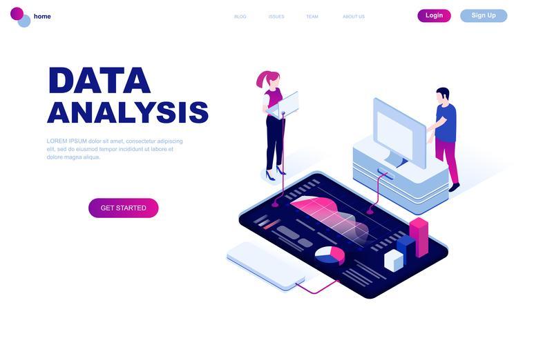 Concept isométrique de design plat moderne de l'audit, l'analyse des données vecteur