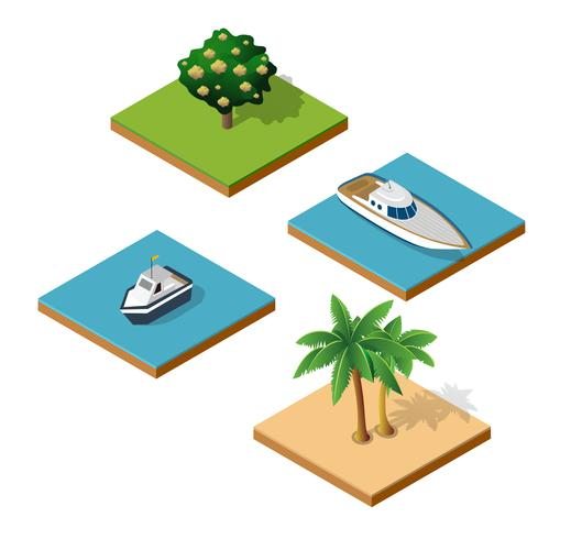 Top view of an island vector