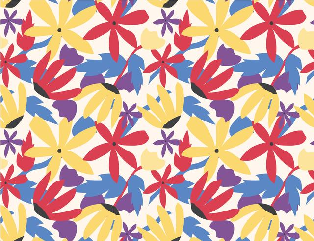 seamless pattern colorful flower pop art style