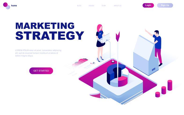 Conceito isométrico moderno design plano de estratégia de marketing vetor