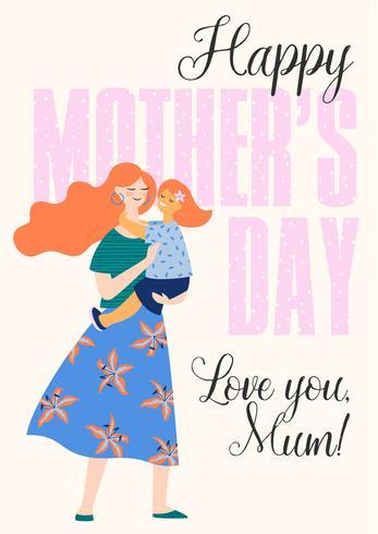 Feliz día de la madre. Mujer y niño.