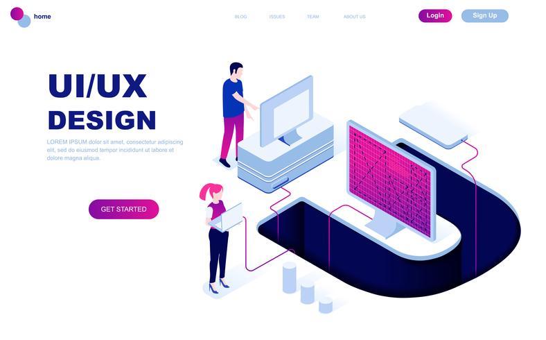 Modernes flaches Design isometrisches Konzept von UX, UI Design