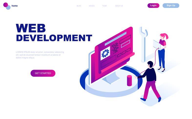 Conceito isométrico moderno design plano de desenvolvimento Web vetor