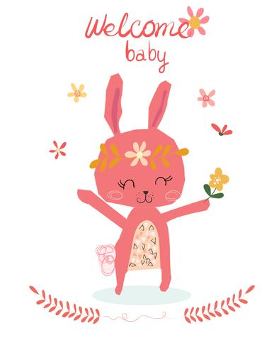 carta di baby shower con coniglio simpatico cartone animato