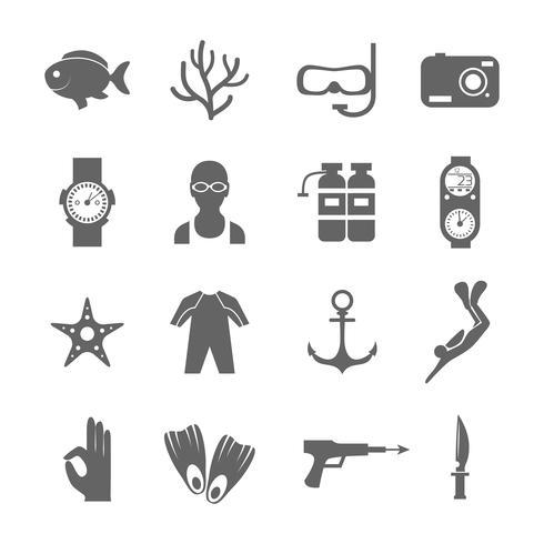 Mergulho ícones pretos vetor
