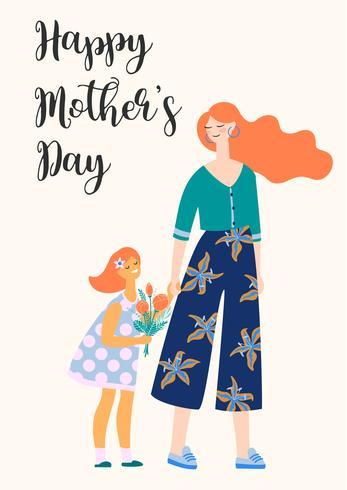 Schönen Muttertag. Frauen und Kind. vektor