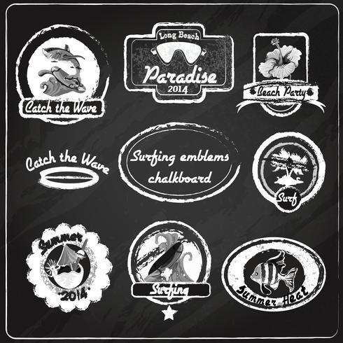 Quadro de emblemas de surf vetor