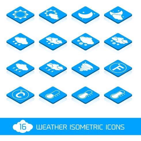 Väder isometriska ikoner vita och blåa vektor