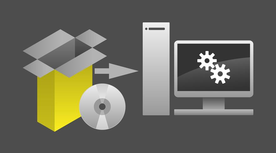 Computer Software Package Installation Vector Illustration