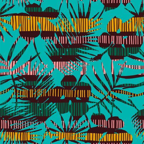 Abstraktes nahtloses Muster mit tropischen Blättern. Hand zeichnen Textur.
