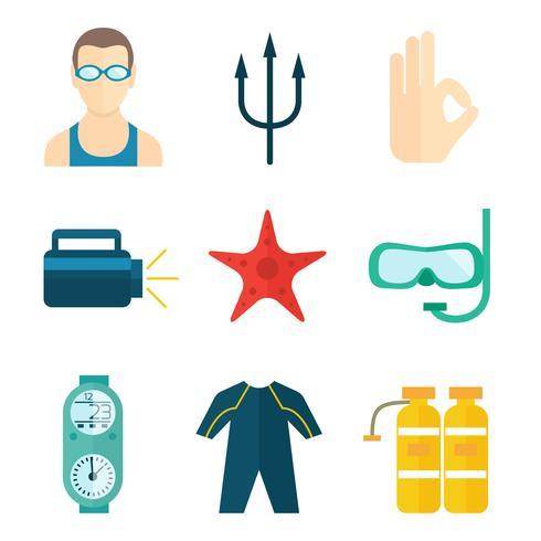 Dykning ikoner platt vektor