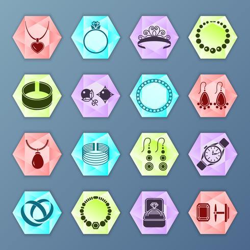 Hexágono de ícone de jóias