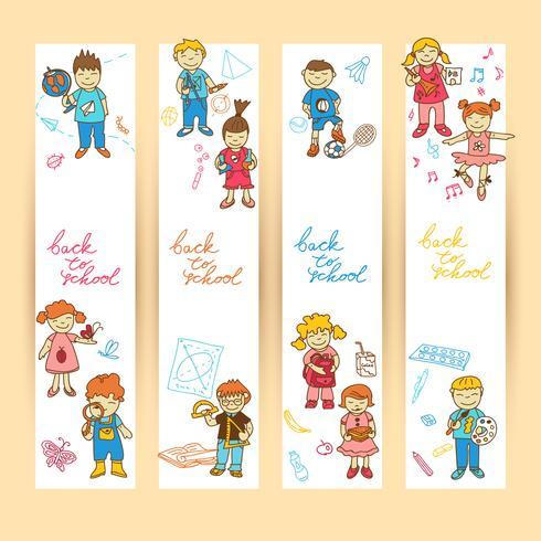 Conjunto de banners con niños. vector