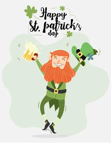 cute leprechaun with beer and pipe vector