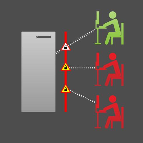 Netzwerk-Computersicherheit, Piraterie und Schutz-Firewall-Vektor-Illustration vektor