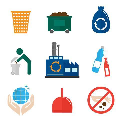 Icone di immondizia piatte vettore