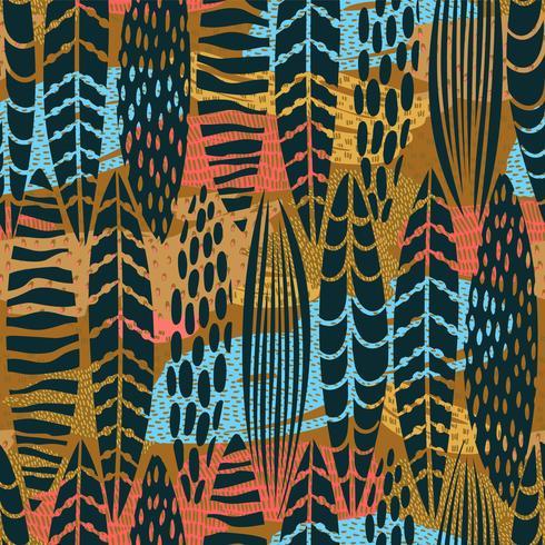 Modelo inconsútil tribal con las hojas abstractas. Mano dibujar textura.