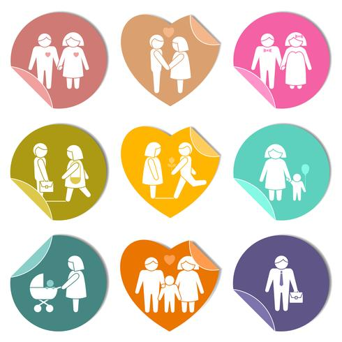 Family stickers set vector