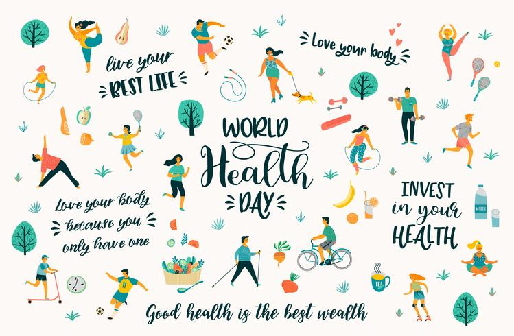 World Health Day  with people leading an active healthy lifestyle and quotes.