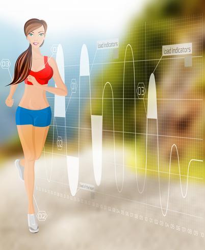 Mujer corriendo tecnologia vector