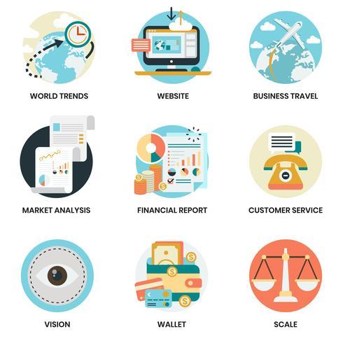 Bedrijfspictogrammen die voor zaken, marketing worden geplaatst