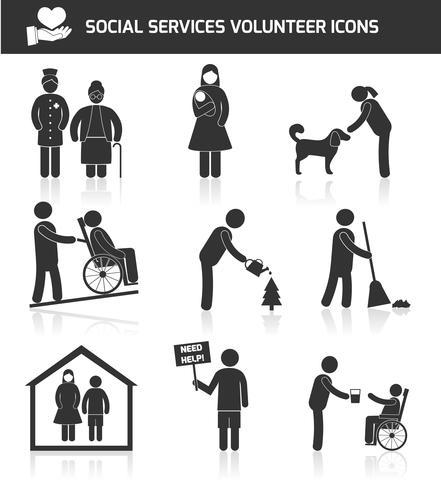 Conjunto de ícones voluntários vetor