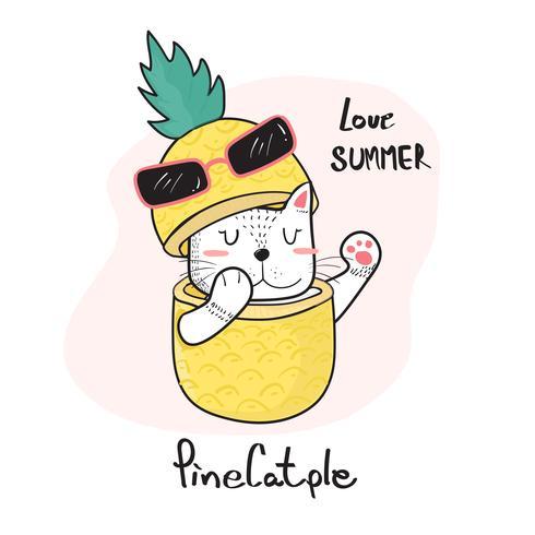 Doodle mano disegno gatto carino sbirciare attraverso un ananas, pinecatple