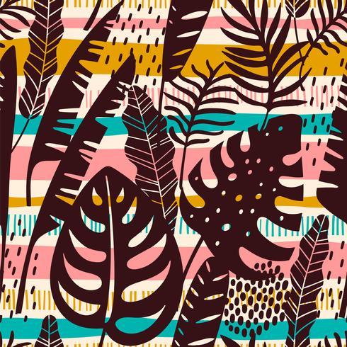 Abstraktes nahtloses Muster mit tropischen Blättern. Vektor Vorlage
