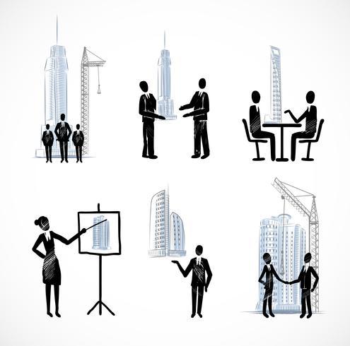 Insieme di uomini d'affari con edifici